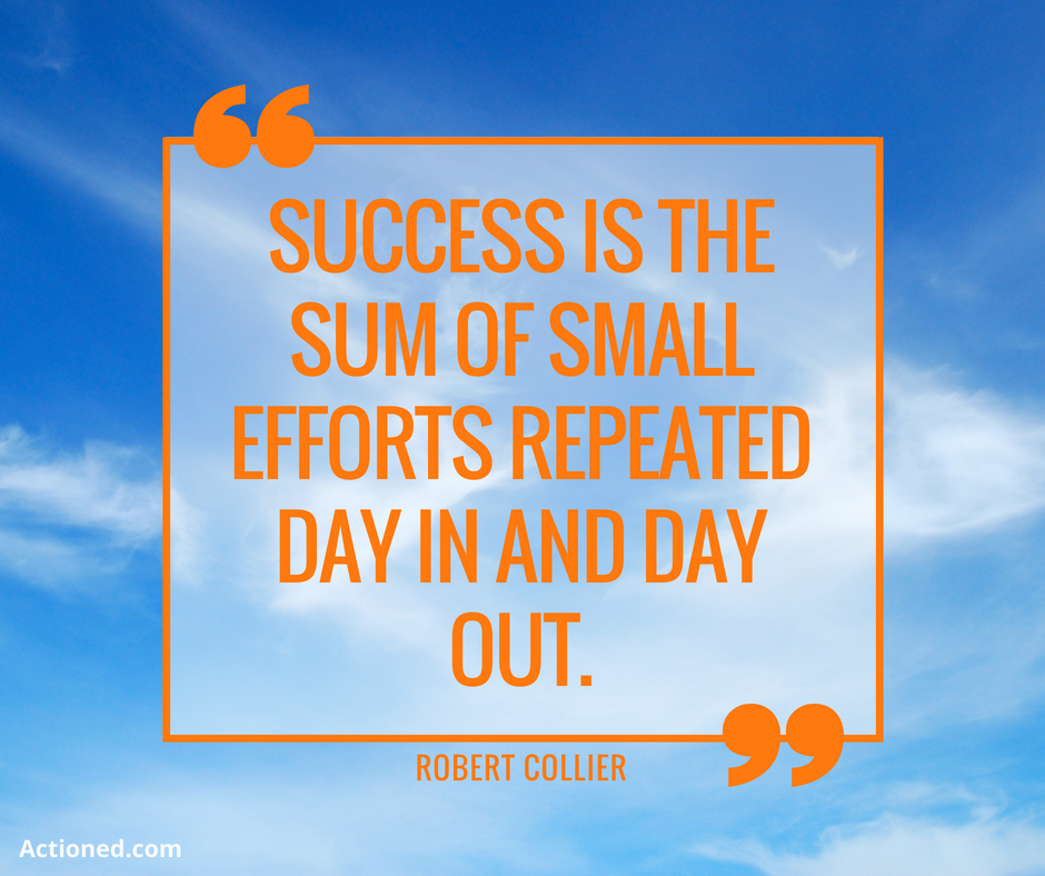 productivity quote success is the sum of small efforts repeated day in and day out