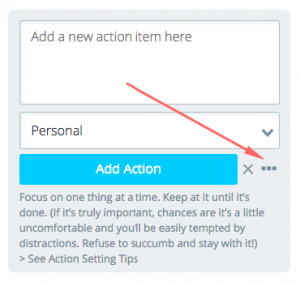 Add new action popup