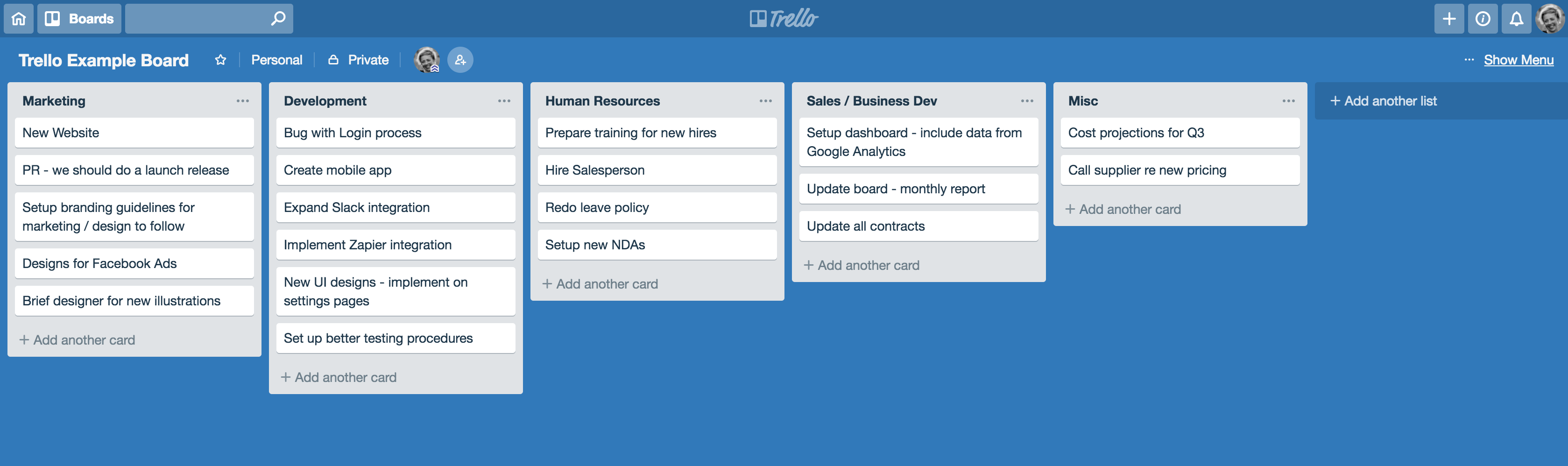 Trello Alternatives Example Board